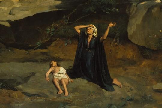 """פרט מהציור """"הגר"""" לז'אן-בטיסט קאמי קורו, 1835"""