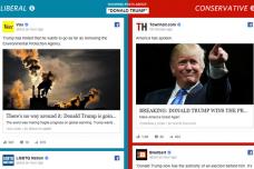 מימין: פיד שמרני על נצחון טראמפ. מימין: ליברלי. אשליית המציאות של החדשות בפייסבוק (צילום מסך מאתר וול סטריט ג'ורנל)