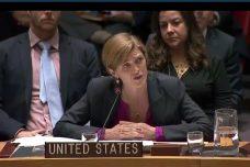 """סמנתה פאוור, שגרירת ארה""""ב לאו""""ם, בדיון מועצת הביטחון על ההתנחלויות (צילום: האו""""ם)"""