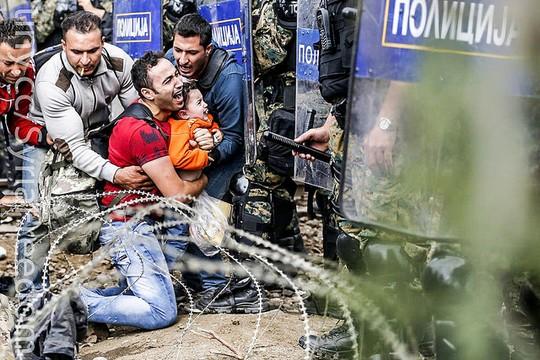 'לעולם לא עוד', אבל כדאי לקרוא גם את האותיות הקטנות. פליט סוריה על גבול מקדוניה (Freedom House)