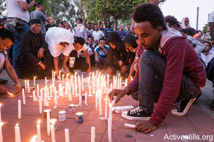 טקס לזכר הבטום זרהום, שנרצח בלינץ' בבאר שבע, 2015 (אילוסטרציה: אורן זיו / אקטיבסטילס)