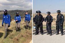 שוטרים באום אלחיראן (מימין) לעומת שוטרים בעמונה (קרן מנור/אקטיבסטילס וטובה לזארוף)