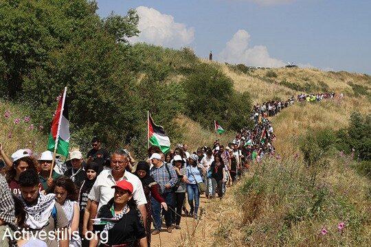 כיהודים מרימים את המבט, הם רואים את שרידי הכפרים הפלסטיניים. אלפים בצעדת העקורים השנתית לציון יום הנכבה בכפר בעקור אלכאברי (צילום: מריה זריק/אקטיבסטילס)
