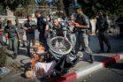 מחאת הנכים מול בית ראש הממשלה בירושלים (צילום: יונתן זינדל, פלאש90)