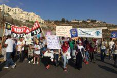 מאות פלסטינים וישראלים הפגינו נגד החומה והריסות הבתים בכפר וואלג'ה