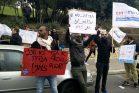 עובדי חסות הנוער מפגינים נגד פיטוריהם (צילום: אלברט סופר)