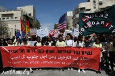 יום האשה: מאות נשים צעדו נגד גירוש הפליטים ובעד דרום תל אביב