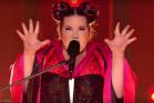 נטע ברזילי בהופעה הזוכה באירוויזיון 2018, ליסבון (צילום מסך)