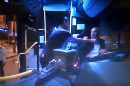 """הנהג מוחמד עבאסי מותקף על ידי נוסעים """"נהג לא עולה לאוטובוס מבלי לדאוג לאמצעי להגנה עצמית"""" (צילום מסך)"""