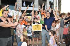 מחאת המשפחות של ילדים אלרגיים מול קרית הממשלה (צילום: ריקי מיטרני ביבר)