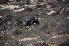 מעלים את אנשי תעאיוש מהמדרון ליד מצפה יאיר. החיילים ראו, ולא ממש התערבו (צילום: נסר נוואג'עה / בצלם)