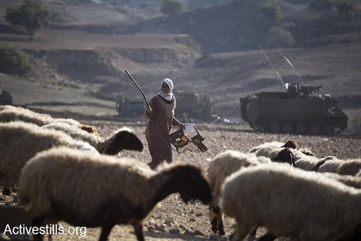 רועים פלסטינים בבקעת הירדן. השימוש בשטחי אש הפך שיטה להרחקתם מהמרעה (צילום: קרן מנור / אקטיבסטילס)