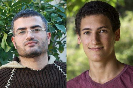 """הסרבן הלל גרמי (מימין) ומארגן צעדת השיבה בעזה אחמד אבו רתימה. (התמונות באדיבות """"מסרבות"""", ומתוך עמוד הפייסבוק של המצולם)"""