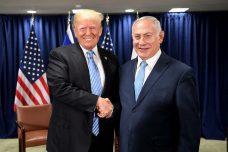 """האדון והנתין. בנימין נתניהו עם דונלד טראמפ בשולי עצרת האו""""ם בניו יורק (אבי אוחיון, לע""""מ)"""