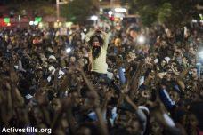 המשטרה מכינה את הקרקע לאלימות לקראת ההפגנה מחר. מחאת הקהילה האתיופית, 2015 (אורן זיו/ אקטיבסטילס)