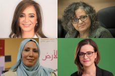 """ארבעת המועמדות הפמיניסטיות של המפלגות הערביות: מימין למעלה עם כיוון השעון: ח""""כ עאידה תומא סלימאן, היבא יזבק, אימאן ח'טיב יאסין, סונדוס סאלח. (צילומים: מרים אלסטר/פלאש 90, יח""""צ בל""""ד, רע""""מ, תע""""ל)"""