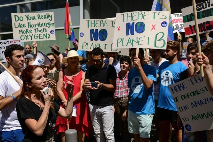 """ח""""כ סתיו שפיר מהמחנה הדמוקרטי בהפגנה נגד שריפת האמזונס, אוגוסט 2019 (צילום: תומר נויברג / פלאש90)"""
