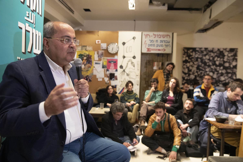 אחמד טיבי בארוע של הרשימה המשותפת בתל אביב, 23 בפברואר 2020 (צילום: אורן זיו)