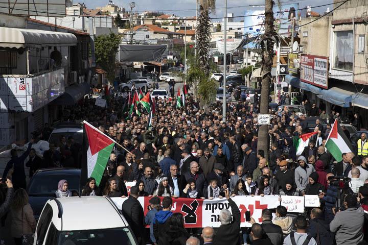 הפגנה נגד תוכנית המאה של טראמפ, באקה אל-ע'רביה, 31 בינואר 2020 (צילום: אורן זיו)