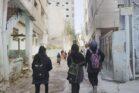 תלמידות תיכון עבדאללה לבנות בשכונת שייח ג'ראח בירושלים (צילום: רחל שור)