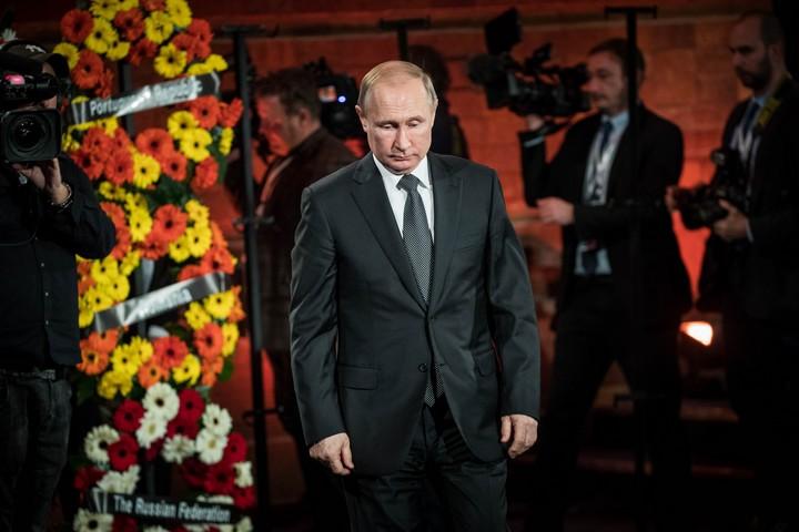 """נשיא רוסיה, ולדימיר פוטין, מבקר ביד ושם במסגרת """"פורום השואה"""" העולמי החמישי, ב-23 בינואר 2020 (צילום: יונתן זינדל / פלאש90)"""