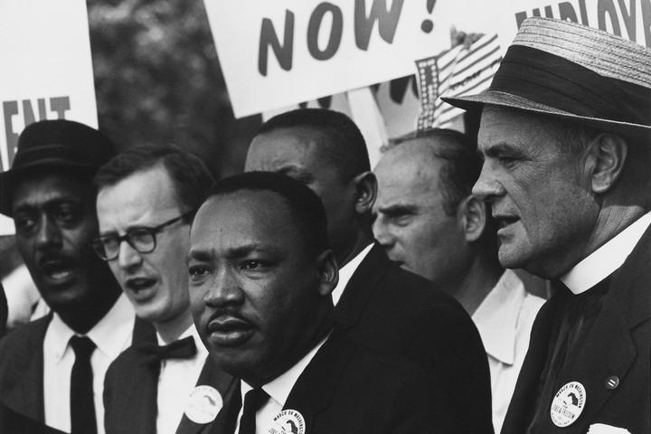 """הזכיר את """"האומה האמריקאית"""" תשע פעמים בנאומו. מרטין לותר קינג במצעד זכויות האדם בוושינגטון (צילום: רולנד שרמן, ויקימדיה)"""