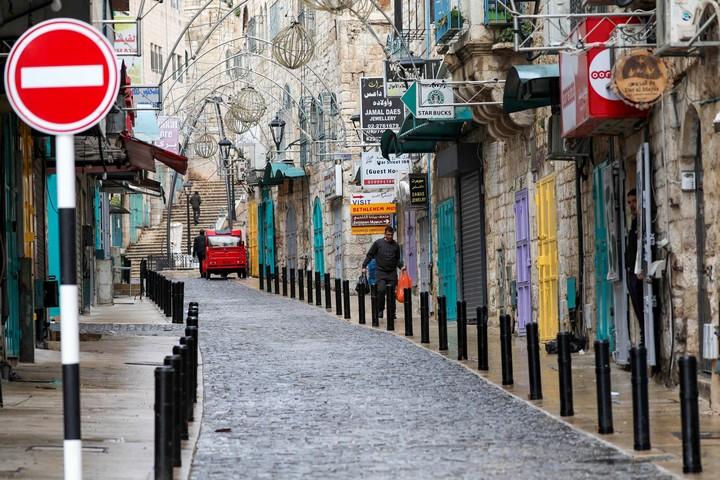 רחוב נטוש בבית לחם, ב-5 במרץ 2020 (צילום: ויסאם השלמון / פלאש90)