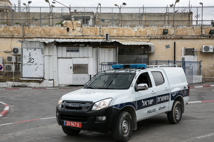 הכניסה לבית המעצר במגרש הרוסים בירושלים, שהוכנס לבידוד מחשש להידבקות בקורונה, ב-12 במרץ 2020 (צילום: אוליבייה פיטוסי / פלאש90)