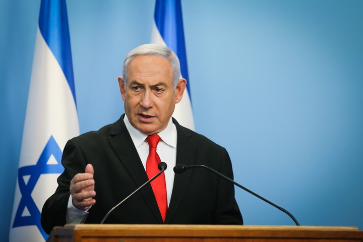 ראש הממשלה, בנימין נתניהו, במסיבת עיתונאים בירושלים, ב-12 במרץ 2020 (צילום: אלכס קולומויסקי)