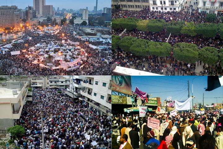 עם כיוון השעון, משמאל למעלה: הפגנות האביב הערבי במצרים, תוניסיה, סוריה ותימן (צילומים: Jonathan Rashad, VOA Photo/L. Bryant, Syria-Frames-Of-Freedom ו-Sallam)