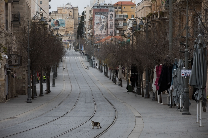 רחוב יפו הריק בירושלים, ב-28 במרץ 2020 (צילום: נתי שוחט / פלאש90)