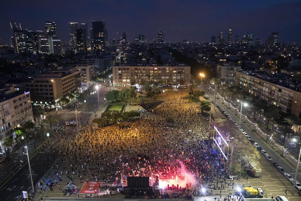 מחאת העצמאיים בכיכר רבין, 30 במאי 2020 (צילום: אורן זיו)