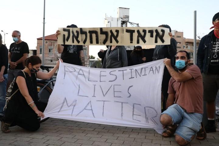 מחאה נגד הריגתו של איאד אלחלאק, ב-30 במאי 2020 (צילום: אורן זיו)