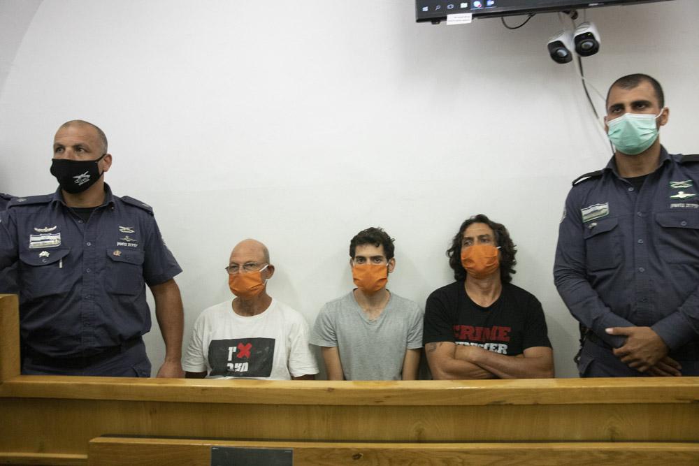 דיון המעצר של אמיר השכל, גיל המרשלג וסדי בן שטרית, בבית המשפט השלום בירושלים, 27 ביוני 2020 (צילום: אורן זיו)