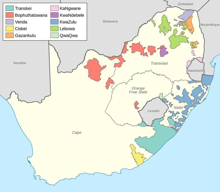 מפת הבנטוסטנים בדרום אפריקה, זמן קצר לפני נפילת האפרטהייד (מקור: ויקיפדיה)