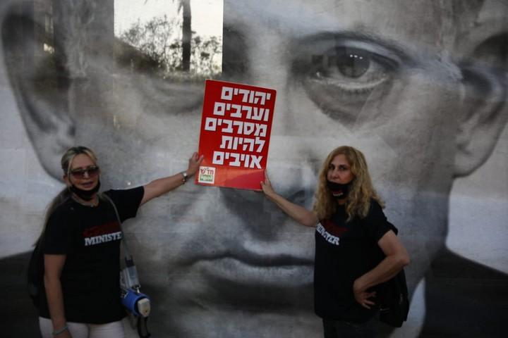 הפגנה בכיכר רבין בתל אביב נגד הסיפוח, ב-6 ביוני 2020 (צילום: אורן זיו)