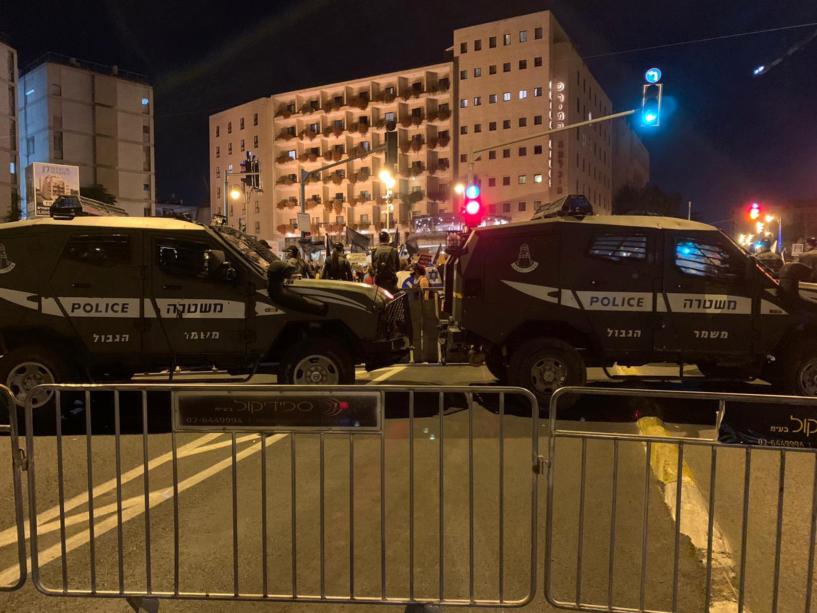 המחסום המשטרתי בירושלים, 25 ביולי 2020 (צילום: חגי מטר)