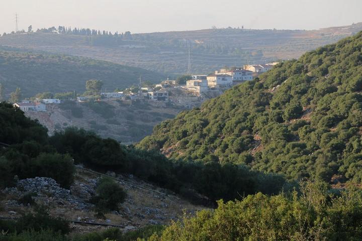 שמורת הטבע נחל קאנה והתנחלות יקיר. מבט מהאדמה של אבו חיג'לה. לפלסטינים אין יכולת לבנות באדמות שלהם (צילום: אחמד אלבאז / אקטיבסטילס)