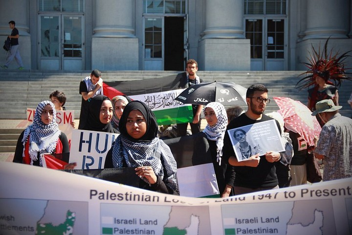 מחאת סטודנטים לצדק בפלסטין באוניברסיטת ברקלי, ב-23 בספטמבר 2014 (צילום: Ariel Hayat, CC BY 2.0)