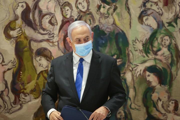 ראש הממשלה, בנימין נתניהו, בישיבת ממשלה בכנסת, ב-17 במאי 2020 (צילום: אלכס קולומויסקי)