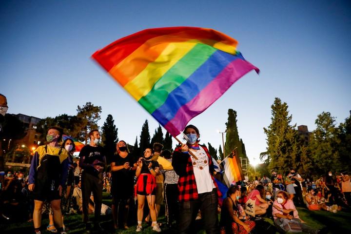 עצרת גאווה בירושלים, ב-28 ביוני 2020 (צילום: אוליבייה פיטוסי / פלאש90)