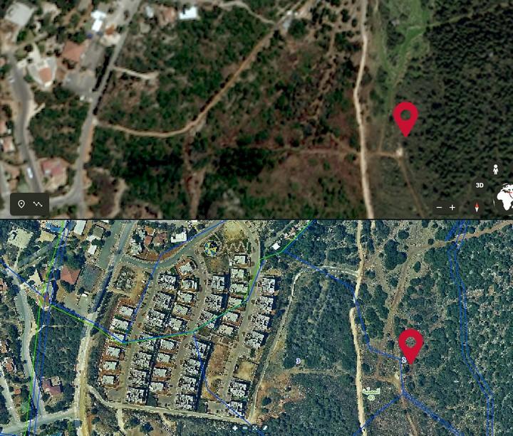 האדמה של אבו חיג'לה מסומנת באדום מימין. התנחלות יקיר משמאל
