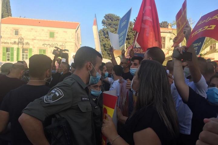 הפגנת מסעדנים בחיפה, ב-21 ביולי 2020 (צילום: מירון רפופורט)