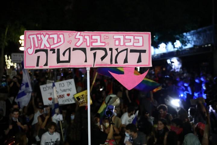 הפגנה בירושלים, ב-1 באוגוסט 2020 (צילום: אורן זיו)