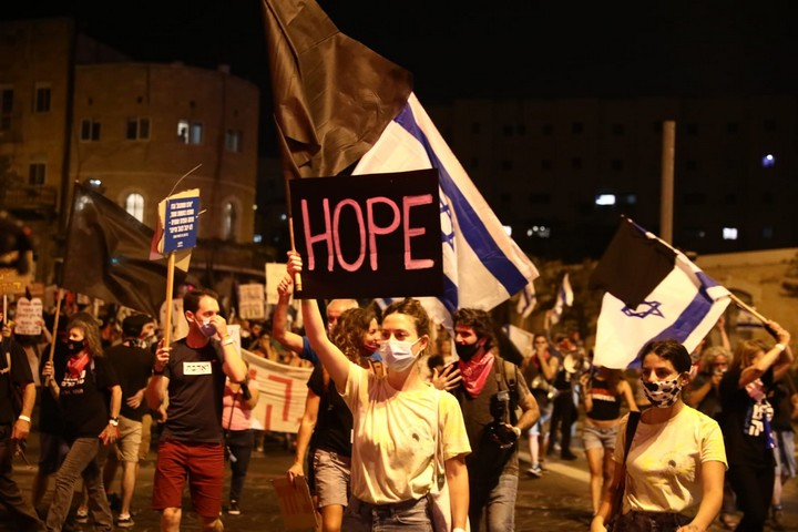 מחאת בלפור, 29 באוגוסט 2020 (צילום: אורן זיו)