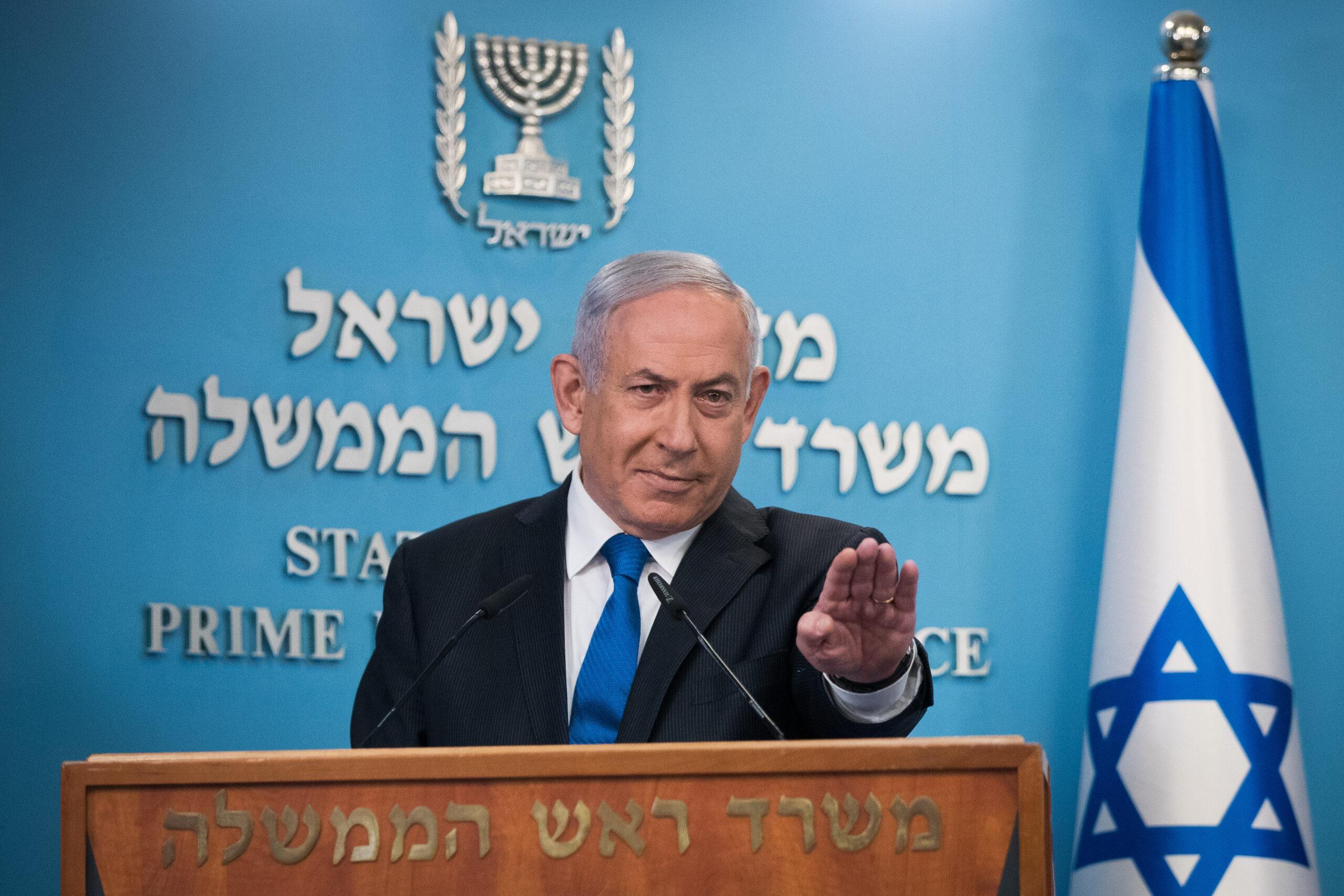 בנימין נתניהו במסיבת עיתונאים בירושלים (צילום: יונתן סינדל/פלאש90)