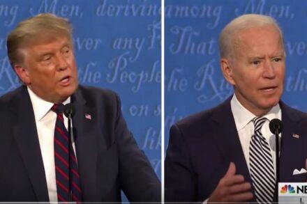 עימות חסר תקדים. טראמפ וביידן (צילום מסך)