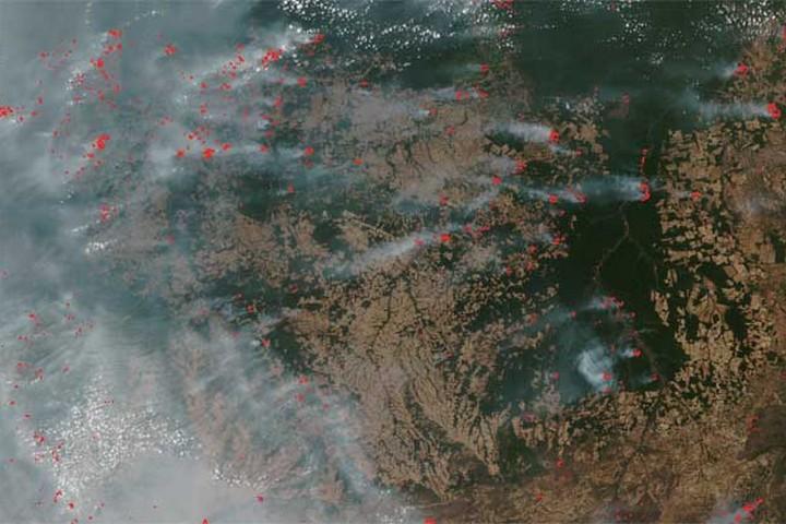 """שריפות באזור שינגו בברזיל, ב-8 בספטמבר 2020 (צילום: נאס""""א)"""
