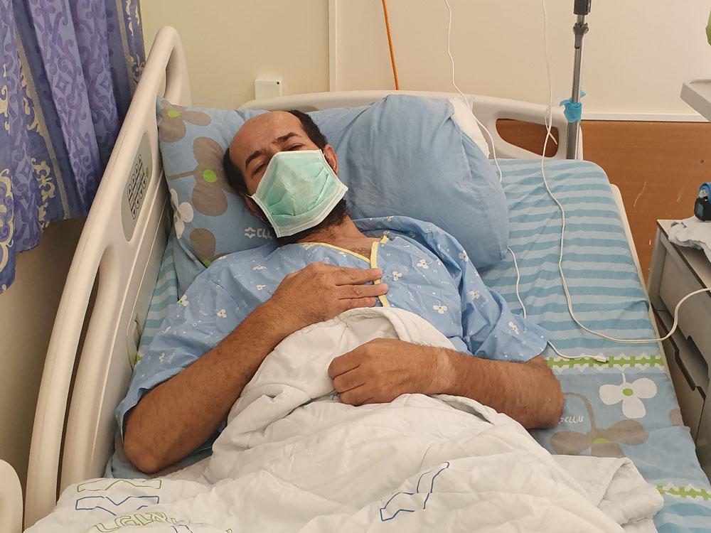 שובת הרעב מאהר אלאח׳רס בבית החולים קפלן (צילום: שיחה מקומית)