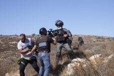 מסיק בבורקא: מתנחלים תוקפים חקלאים, ושוטרים את העיתונאים הפלסטינים